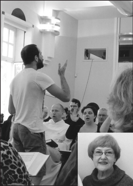 What next? Sacred Harp diplomacy? Ophir Ilzetzki, an Israeli citizen, directs a Sacred Harp song featuring the line, 'I am on a journey to the new Jerusalem.' Though Jewish, he is fascinated with the deeply Protestant Christian Sacred Harp music – to the point of telling Linda that he would like to hold a Sacred Harp singing school and convention in Israel. Who could have seen that coming? (Blount Countian Linda Thomas, who took the photo, appears in the inset at bottom right.)