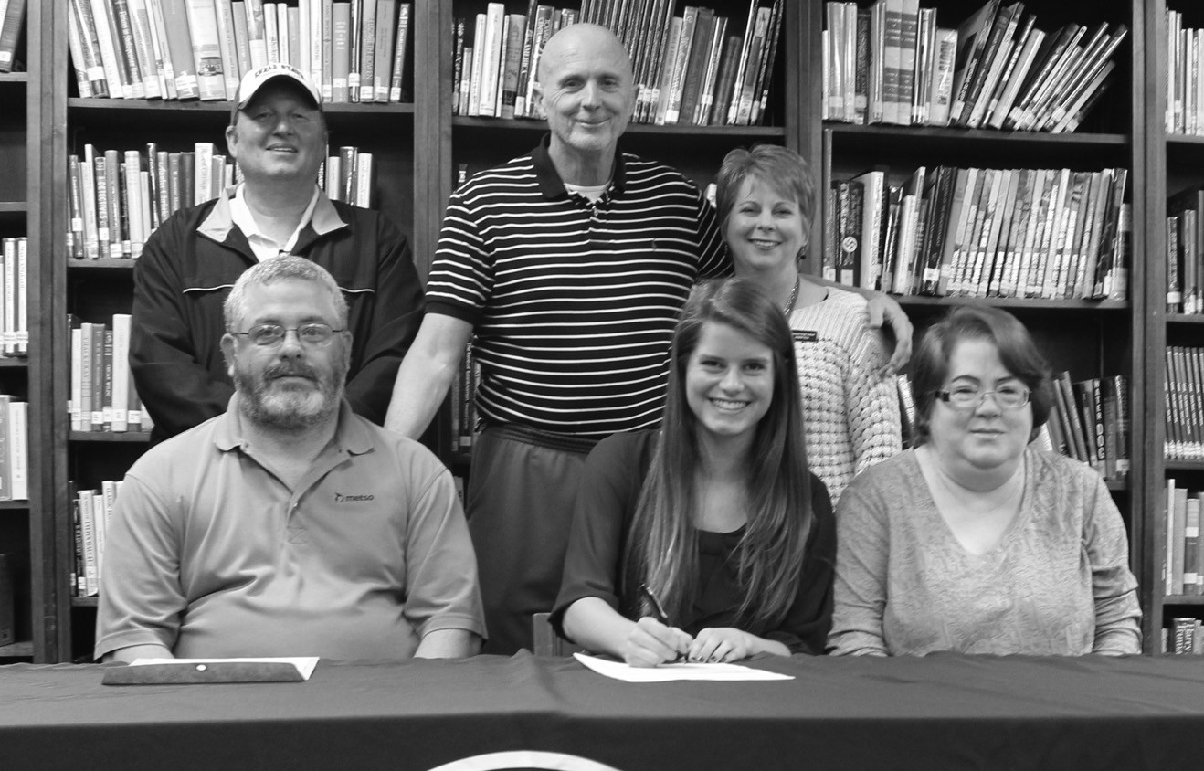 Oneonta High School senior Alesha Triplett will continue her tennis career at Snead State Community College. Along with competing with Oneonta, Triplett has also played many years in USTA tournaments.'Alesha has been on the OHS varsity tennis team for six years and has been a leader on our team for five years,' said Oneonta assistant coach Karen Teal. 'She is a quiet girl that leads by example and encouragement, but has strong willpower and determination. I'm so happy her years of perseverance and dedication have paid off and her talents recognized. She will be a true asset to the Snead State tennis team.' Pictured are standing (left to right) Snead State coach Matt Holaday, Oneonta tennis Coach Dan Bell, Teal; seated (l to r) Brent Triplett, Alesha Triplett, and Amy Triplett. – Nicole Singleton