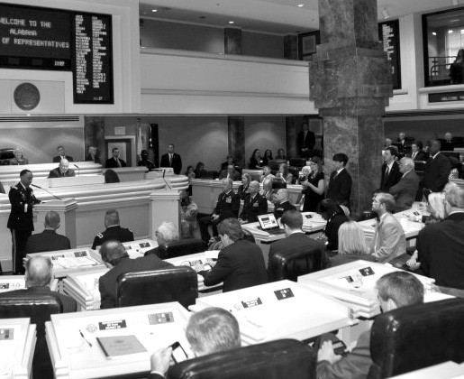 The floor of the Alabama House of Representatives during one of its orderly periods.