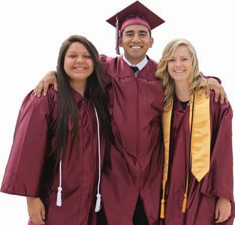 Seniors Nisa New, Daniel Campos, and Marissa Minyard pose for a photo after graduating on Thursday.