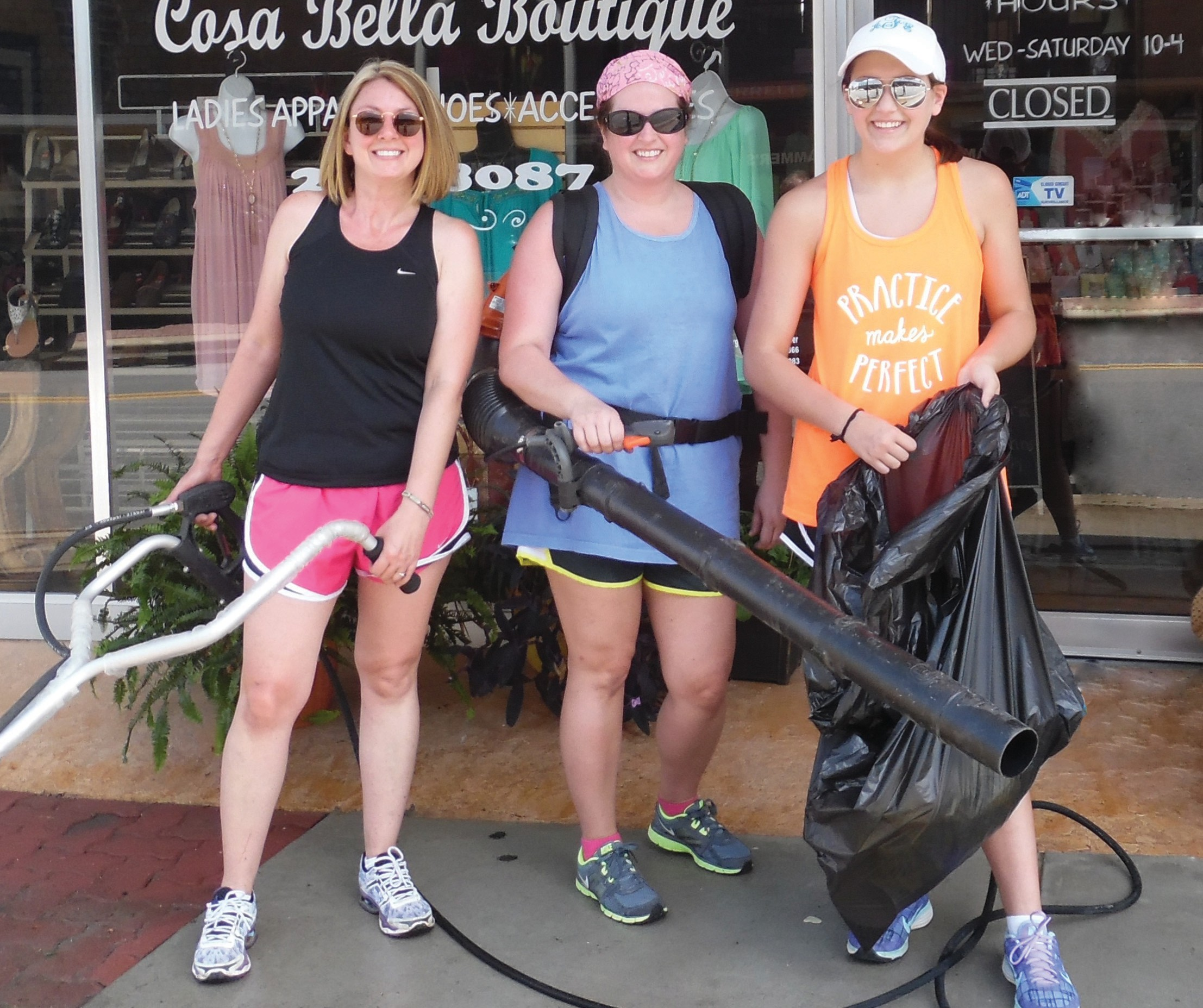 Several crews of intrepid volunteers with pressure washers, leaf-blowers, and trash bags mustered out last weekend to cleanse downtown Oneonta sidewalks and streets for the upcoming June Fling this Saturday, June 6. (Right) Gina Whitten, Allison Pearman, and Anna Frey prepare to swing into action to make a clean sweep of the part of downtown from Cosa Bella, up to the top of tintown (now there's a restaurant name for you!) at Beautique Salon. That's a third of downtown in linear feet, an afternoon's work not to be sneezed at, especially for unpaid volunteers. Show your appreciation, Blount County. Take it out in trade Saturday from 9 a.m. to 3 p.m. at the June Fling. (See lineup of events on pg. 5). Here's a partial list of some others who volunteered in order to make your surroundings pleasant: Jeremy Self, Frank Nette, Derek Pearman, Daniel Clem, Sherry Pierce, Sheila Sorrow, Roy Sorrow, Chuck Morrison, members of the Oneonta Business Association, and members of Revitalizing Oneonta. – Ron Gholson