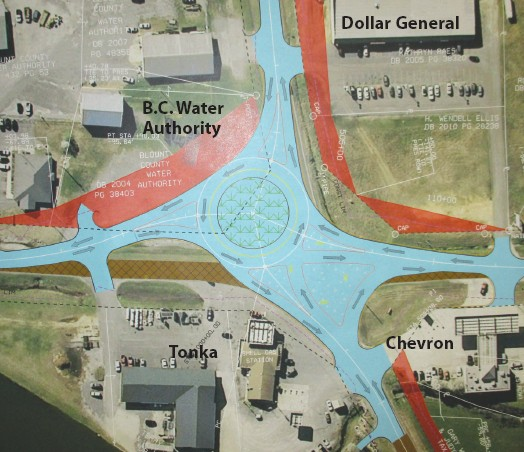 Photo-diagram of proposed roundabout at Cleveland intersection of Ala 79 and Ala 160