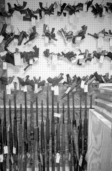 Confiscated weapons room at the Blount County Sheriff's Department, showing the number and diversity of guns confiscated during law enforcement operations. Not shown are the type of automatic weapons that have become the weapons of choice in terrorist-style and some domestic active shooter situations.
