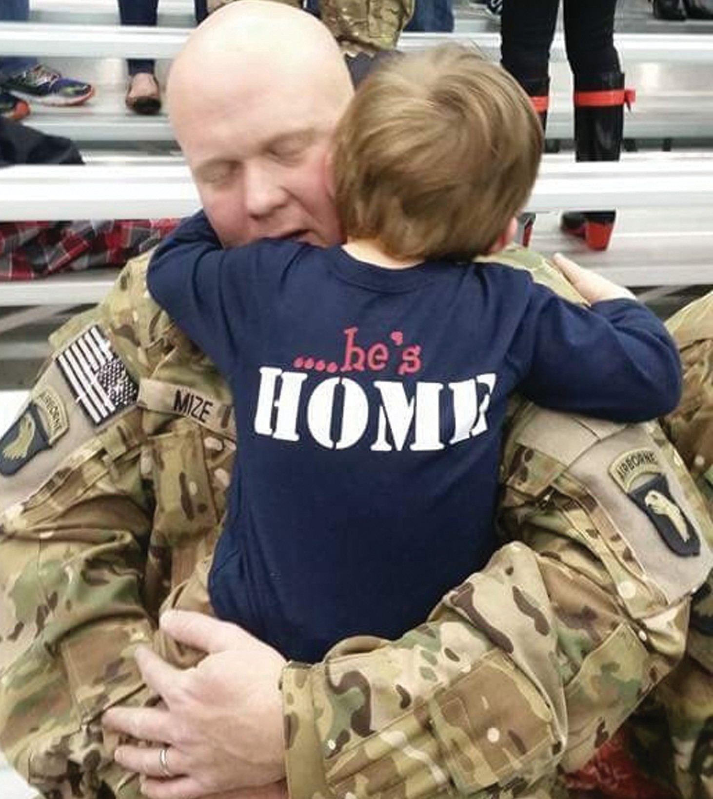 On Jan. 15, upon his return from serving nine months in Bagram, Afghanistan, Army Staff Sgt. Jonathan Mize received a warm welcome from his 3-year-old son, Huston. Mize, a 1998 Locust Fork graduate, has served multiple tours as a flight engineer with the 101st Airborne Division. Now stationed at Fort Campbell, he lives in Clarksville, Tenn., with his wife Jessica, who took the photo of Mize and Huston.'This tour was way tougher because Huston understood Daddy wasn't home,' Mize said. 'When I returned, it was loud, and Huston was scared, but once he warmed up to me and hugged me, I just broke down. It was pure joy.' – Nicole Singleton