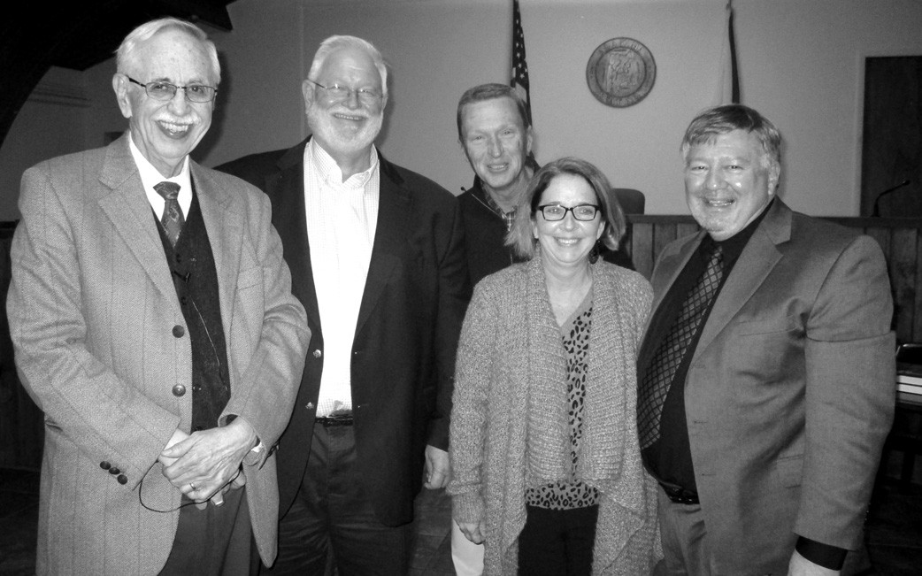 J. Wayne Flynt and Jim Kilgore flank Oneonta councilors (left to right) Tim McNair, Hal Blackwood, and Tonya Rogers. The councilors represented the city in presenting Flynt with an appreciation plaque. Kilgore, a long-time acquaintance of Flynt's, co-ordinated the day's events.