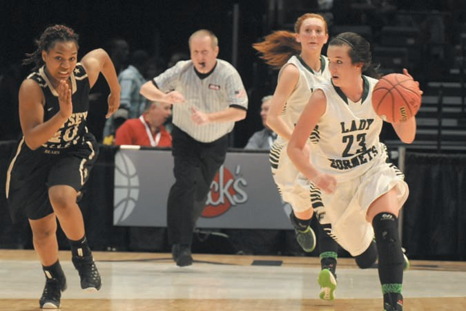 Madison Cater dribbles away from the Sipsey Valley defense during last night's game in Birmingham.