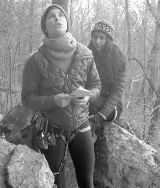 After giving actress Vargas a new way to play the scene, director Jeanes shouts instructions to the actor at the top of the cliff.