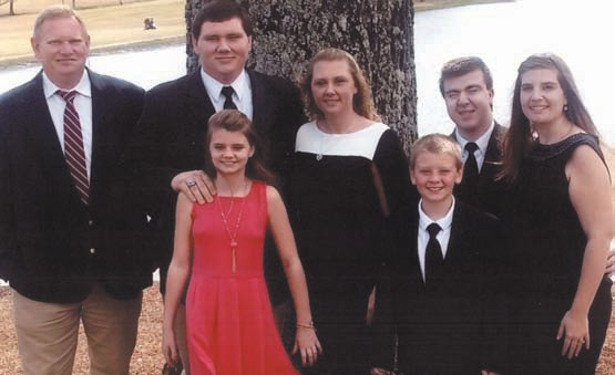 The Studdard family, from left: James, Tyler, Faith (in red), Crystal, Adam (in front of Austin), Austin, and Katherine.