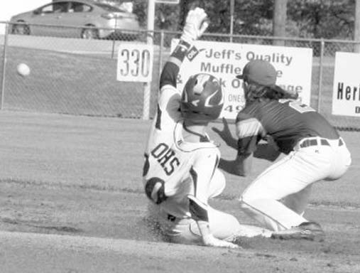 Oneonta's Rance Phillips slides in ahead of the throw during the first game of last week's playoff sweep of Curry.