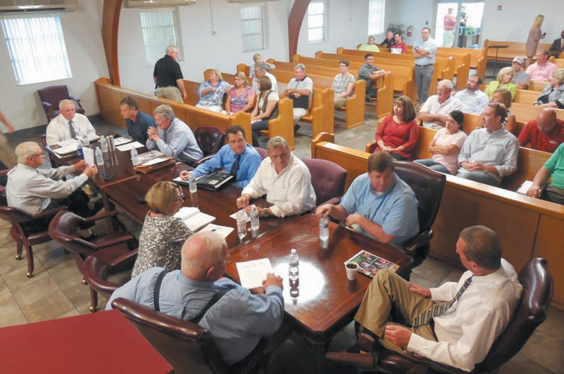 Oneonta City Council members discuss funding issues with Oneonta City Board of Education members in public work session last week.