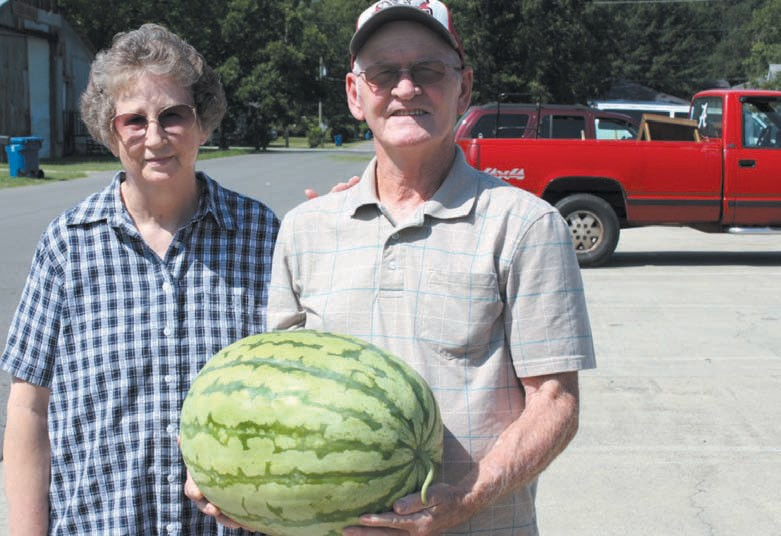 Judy and Tony Hyatt proudly display the 38-pound, yellow-meated watermelon they grew on their farm. The Hyatts, who have a farm about eight miles outside of Oneonta, are regular sellers at the farmers market at the Blount County-Oneonta Agri-Business Center. They have truckloads of watermelons ready to sell each week but don't get your hopes up for this one – Tom said he was going to eat this one himself. -Rob Rice