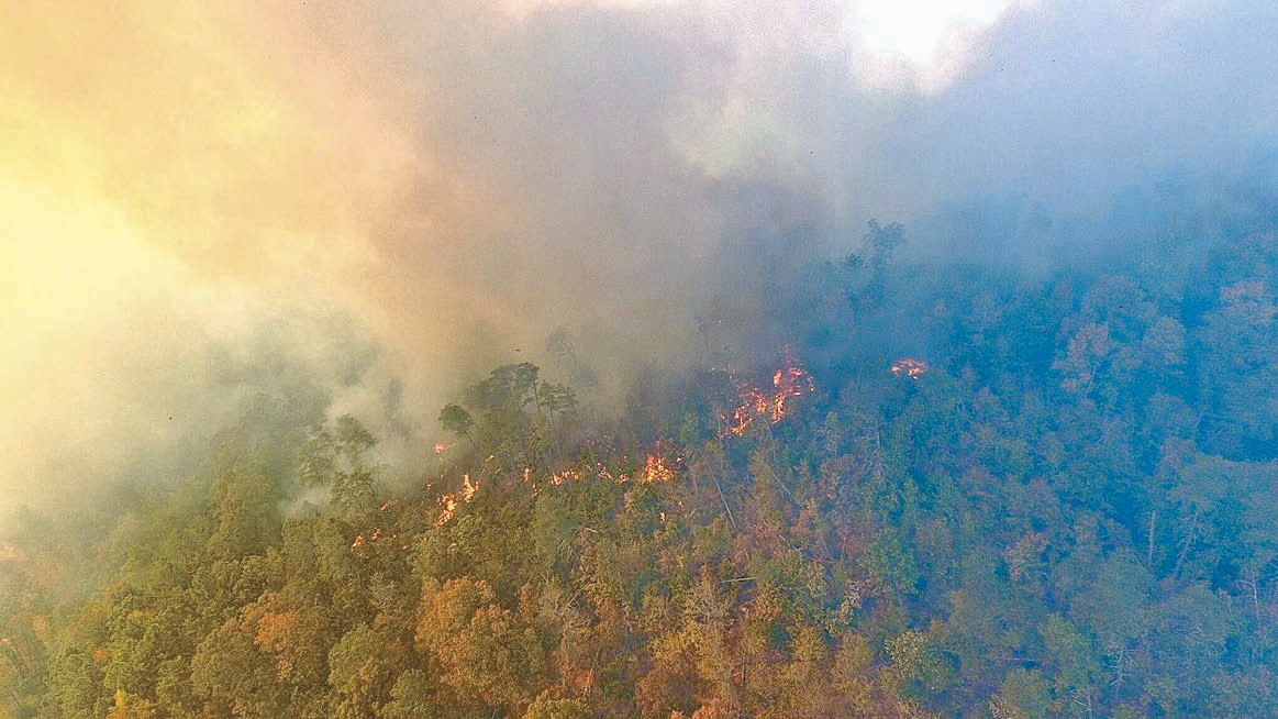 A 200-acre woods fire burned earlier this month along a ridge known as Little Mountain in Cullman County near the Blount County line, separated from Blount by the Mulberry Fork of the Locust Fork River. Fire departments from both Blount and Cullman Counties battled the blaze for two days. The photo was taken by a drone flying above the river.