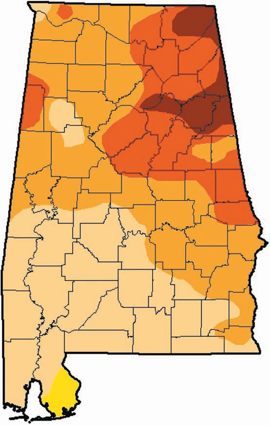 As of last week, 98.5 percent of the state is under moderate to exceptional drought, and 62 percent is considered to be experiencing severe drought or worse. Some 24 percent is under extreme or exceptional drought, and 5 percent is considered to be exceptionally dry, the driest condition on the scale. Blount County divides roughly into thirds, getting dryer moving west to east – severe in the west, extreme in the central section, and exceptional in the southeastern corner.