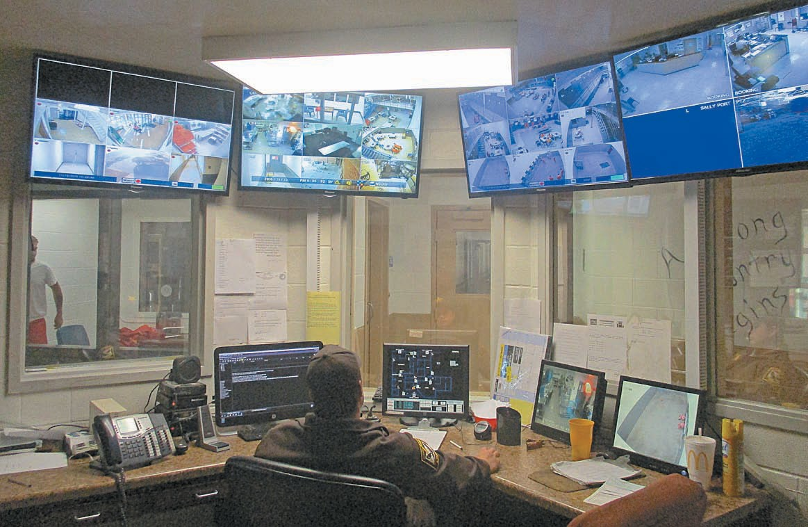 Surveillance command center where all cell blocks in the jail are monitored 24/7.