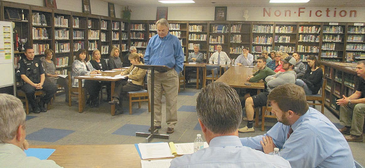 Oneonta head football coach Don Jacobs makes accountability statement to school board before resigning.