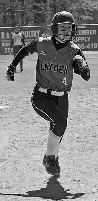Hayden's Chloe Kirkland heads to third.