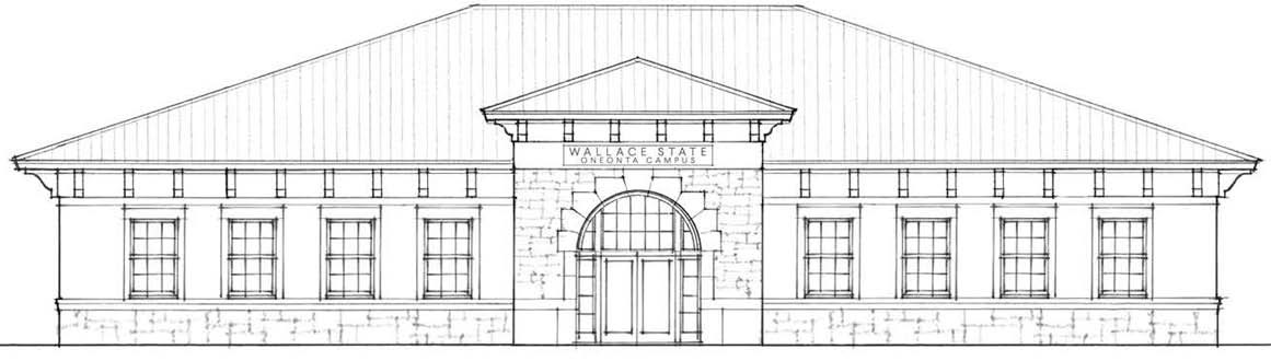 Front elevation of Wallace State Campus Center academic building