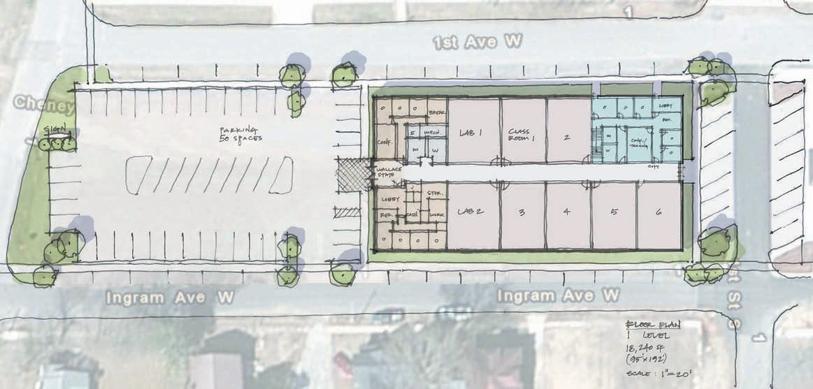 Preliminary floor plan of 18,000-square-foot Wallace State academic building