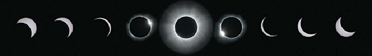 Eclipse sequence runs left to right. Center image shows totality. Image to the right and left of center – referred to as diamond rings – mark the beginning and end of totality, respectively. The eclipse in Blount County is not total, approximating only 95 percent of totality.