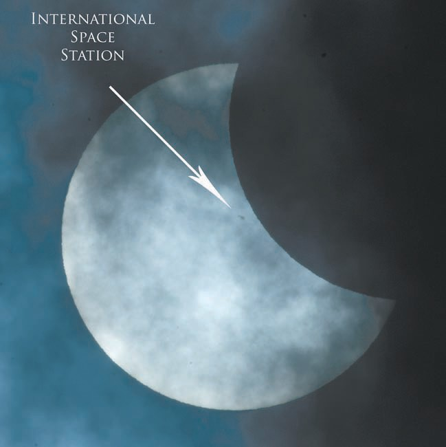 Above: The International Space Station passes during the eclipse.